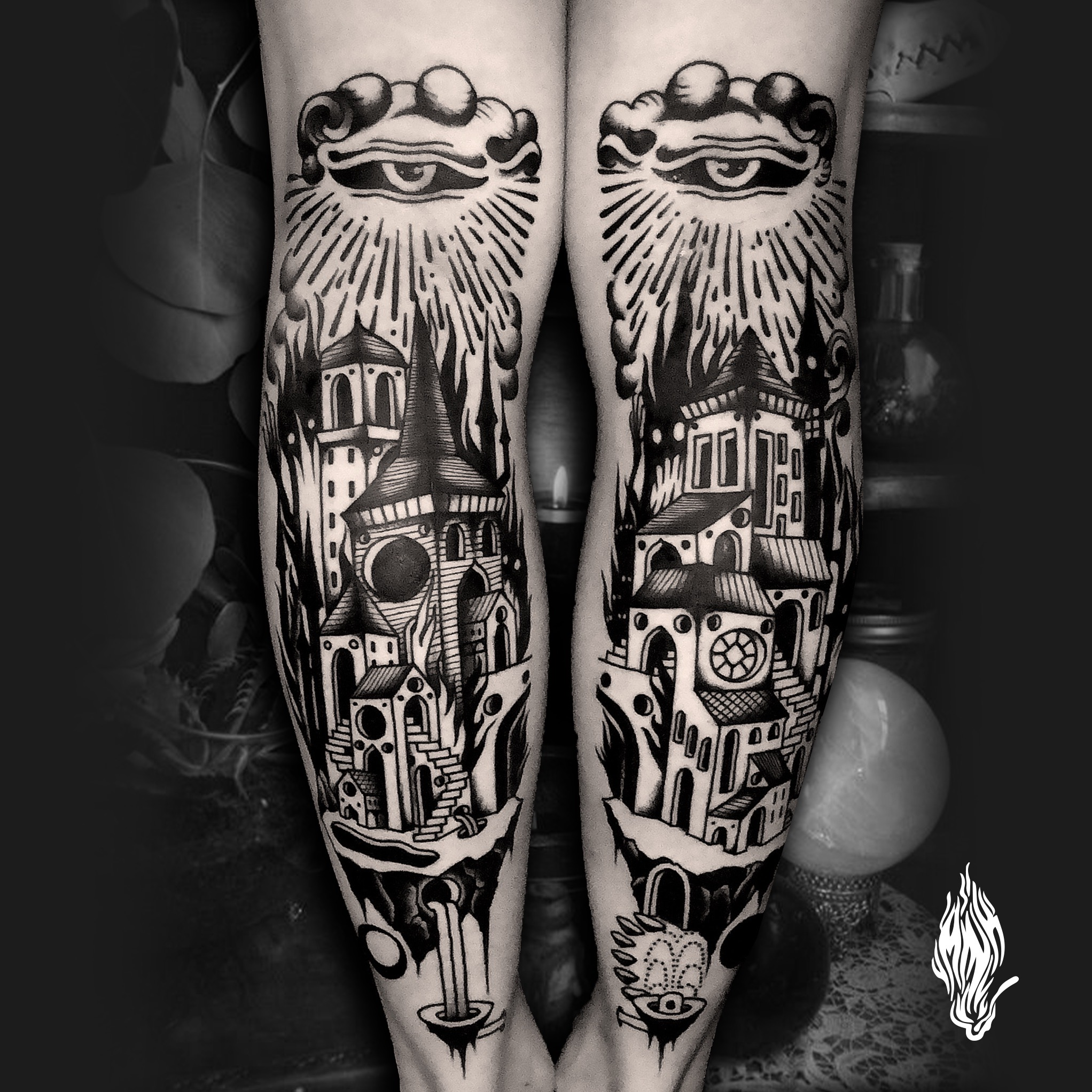 Mink Bell • Flying town réalisé chez Freak Chic Tattoo @freak_chic_bulle