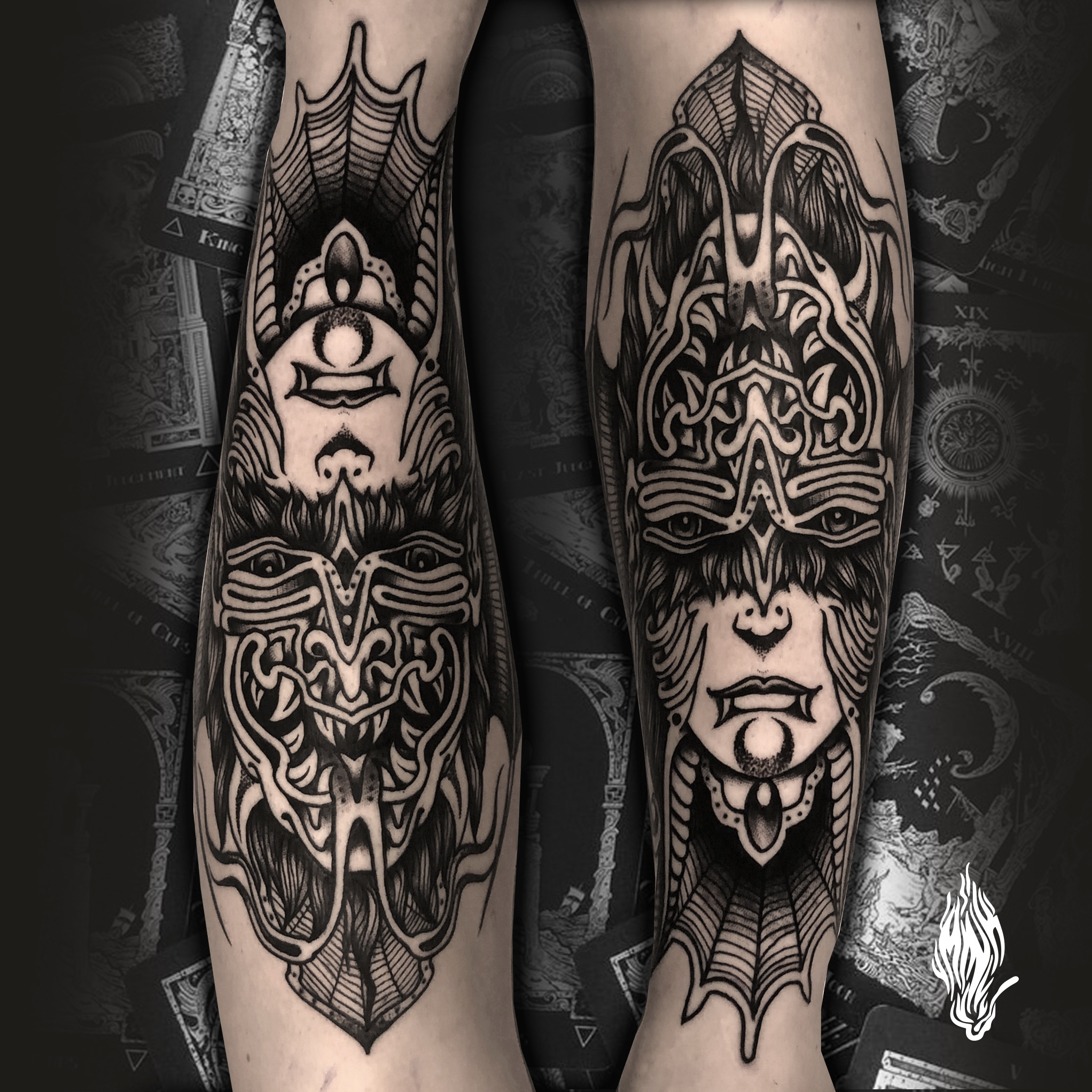 Mink Bell • Double Evil Face Tattoo - à Strasbourg Chez Contraseptik